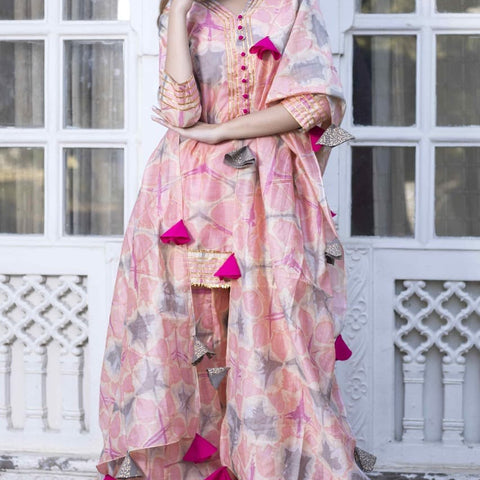 Handcrafted pink chanderi silk cotton suit set
