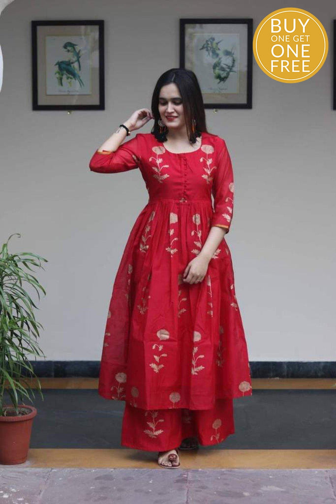 Handcrafted red chanderi silk cotton kurta