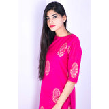 Handcrafted Fuscia Chanderi suit