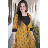 Handcrafted Mustard Black Cotton suit