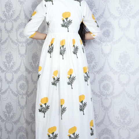 Handcrafted white Cotton Dress