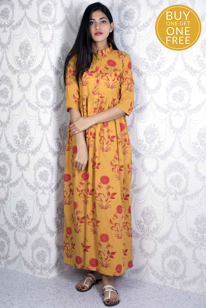 handwoven mustard yellow Cotton Dress