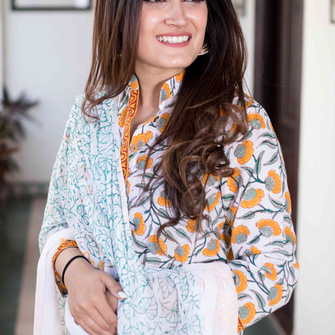 block print orangish yellow Cotton Kurta & Pants With Chiffon Dupatta