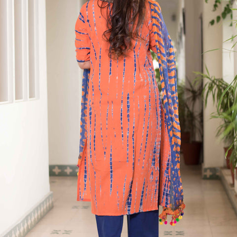 shibori blue orange Cotton Kurta & Pants With Chiffon Dupatta