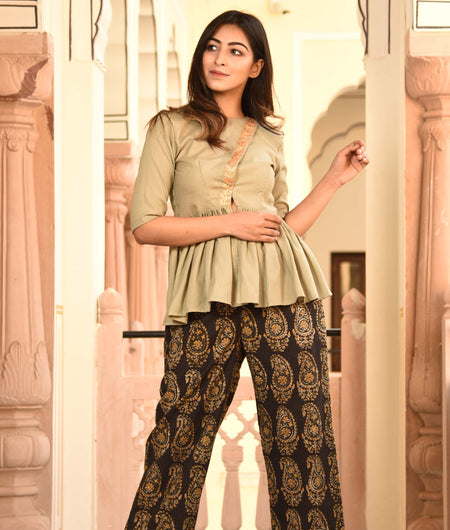 block print pista green cotton kurta and pants