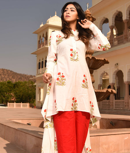 block print red cotton kurta and pants