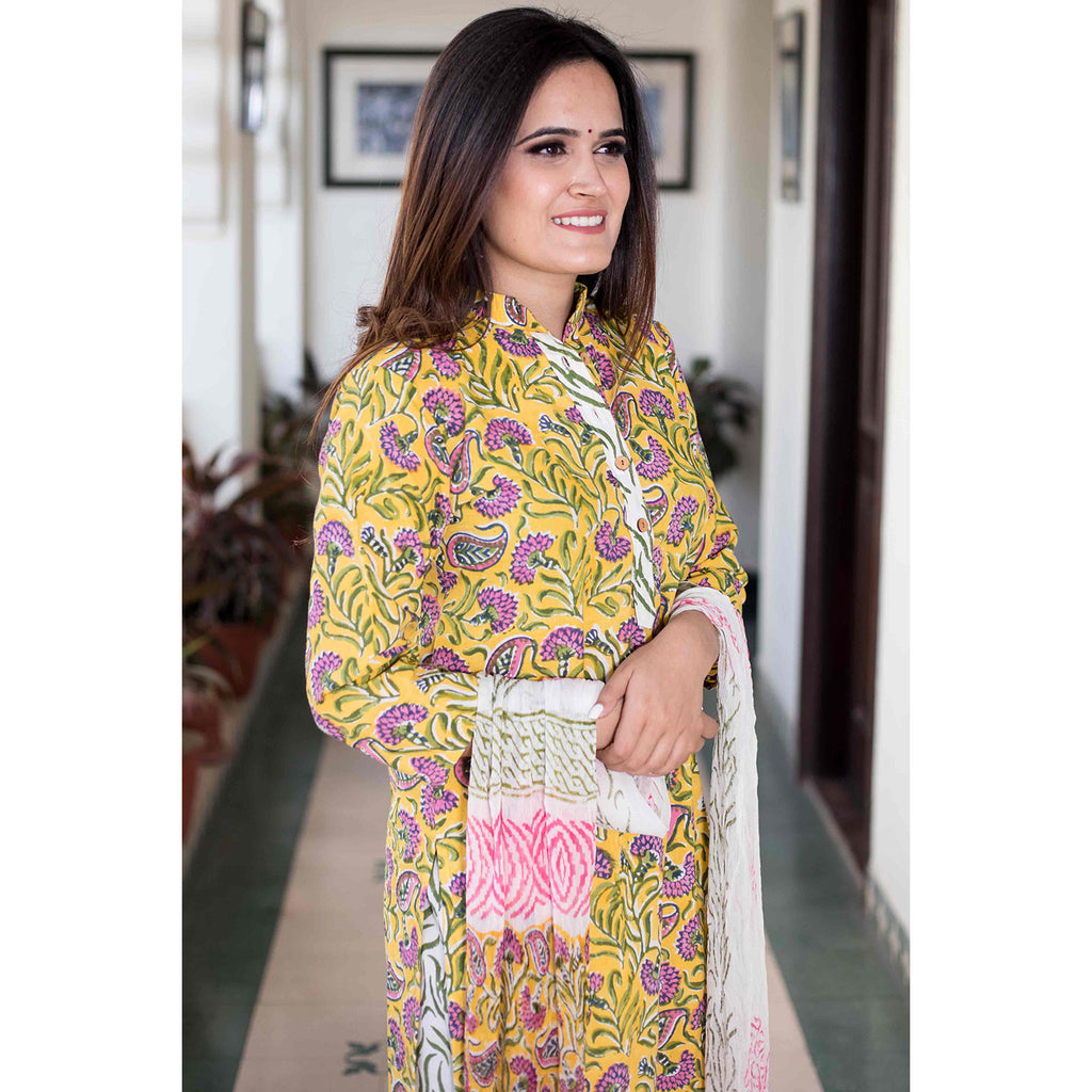 block print yellow pink Cotton Kurta & Pants With Chiffon Dupatta