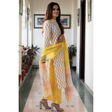 block print white Cotton Kurta & Pants With Chiffon Dupatta