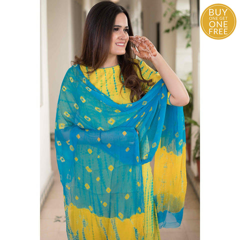 shibori yellow blue Cotton Kurta & Pants With Chiffon Dupatta
