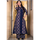 block print navy blue cotton Dress