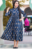 block print blue cotton Dress