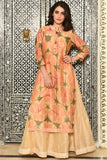 block print peach chanderi Kurta Set