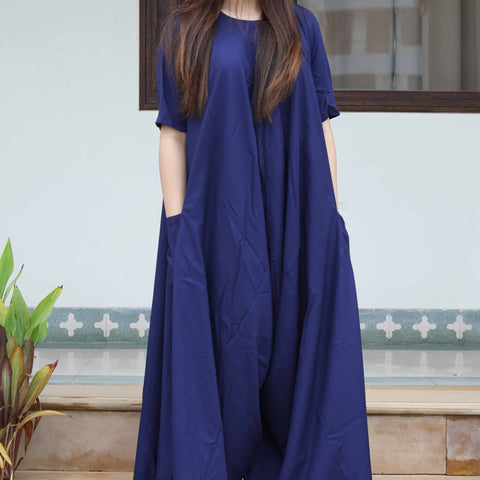 hand block blue rayon Jump Suit