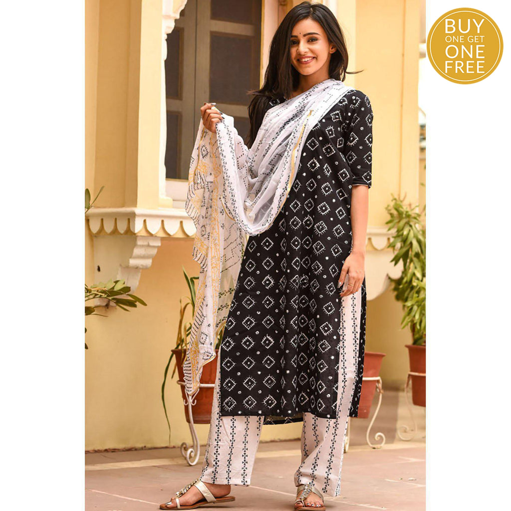 handblock  black and white Cotton suit set