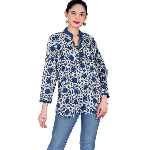 Indigo Blue White Button Up Hand Block Printed Top