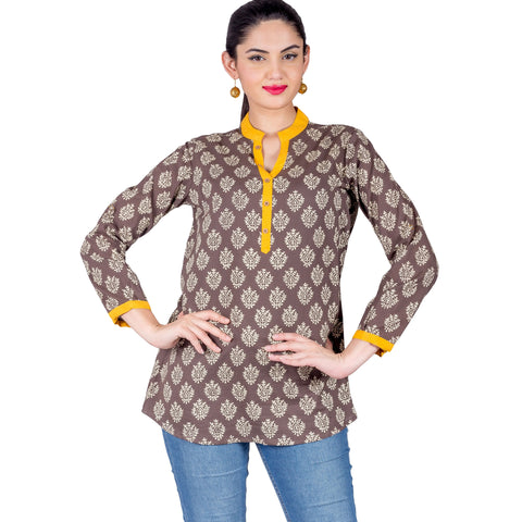 Beige Button Up Round Neck Hand Block Printed Top
