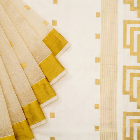 Chanderi Silk Cotton Ivory Zari Work Saree with Square Motif