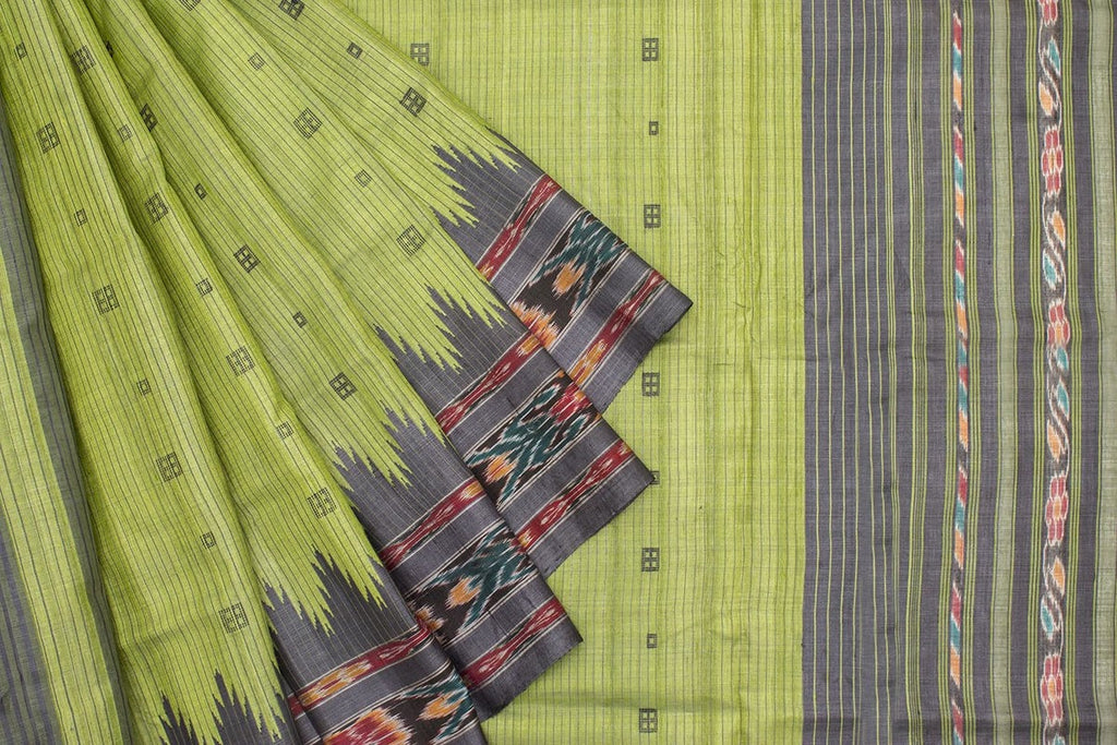 Green with Black Sambalpuri Tussar Silk Saree