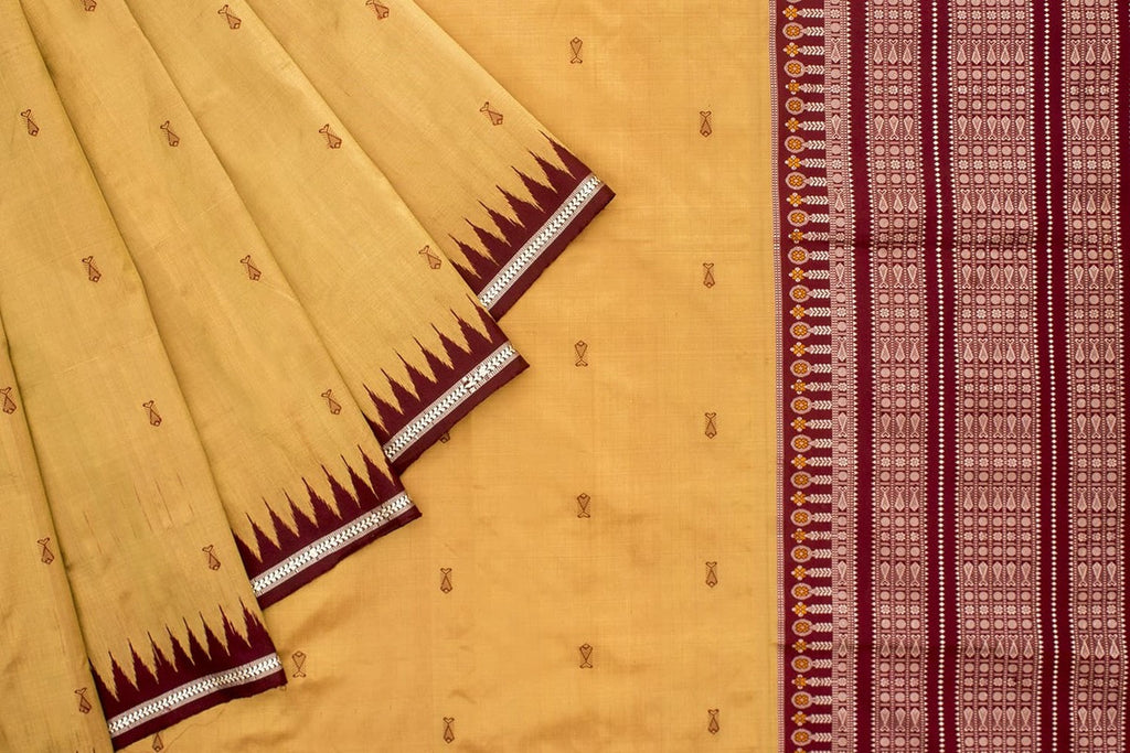 Odisha Silk Bomkai Saree With Ricegrain Design In Border