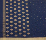 Dark-Blue-Chanderi-Silk-Cotton-Zari-Work-Saree-with-Floral-Motif-FANSAR0001