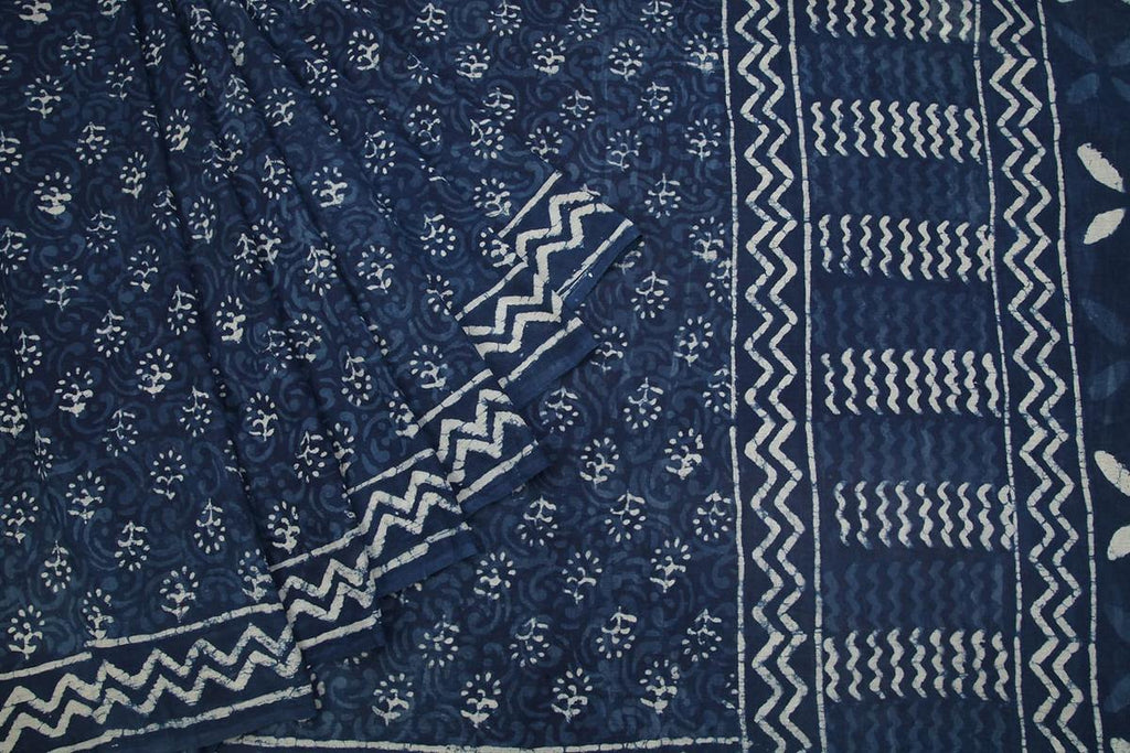 Hand Block cotton navy blue floral butti Saree