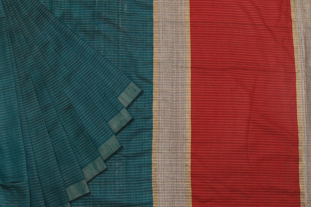 Bhagalpur Tussar Silk Blue Saree With Plain Pattern