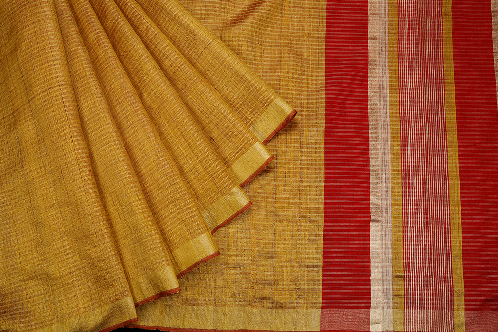 Bhagalpur Tussar Silk Golden Saree With Light Stripes Pattern