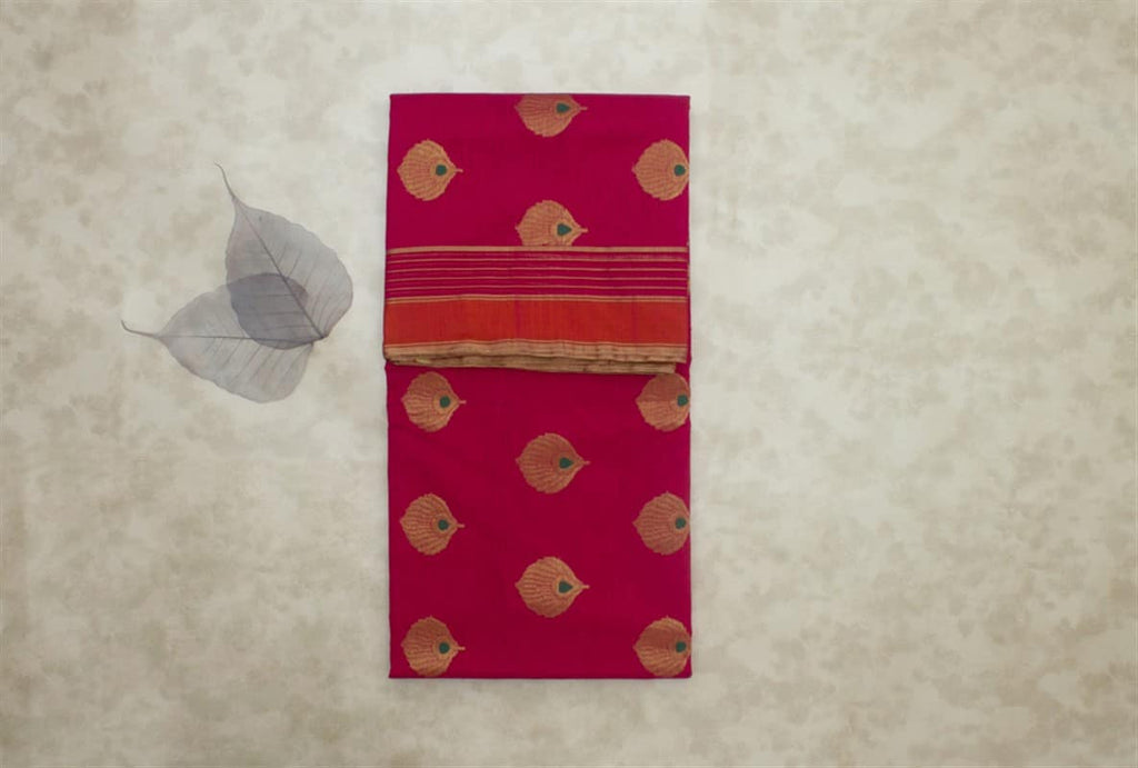 Chanderi Silk Cotton Hot Pink Zari Work Saree with Morpankh Motif
