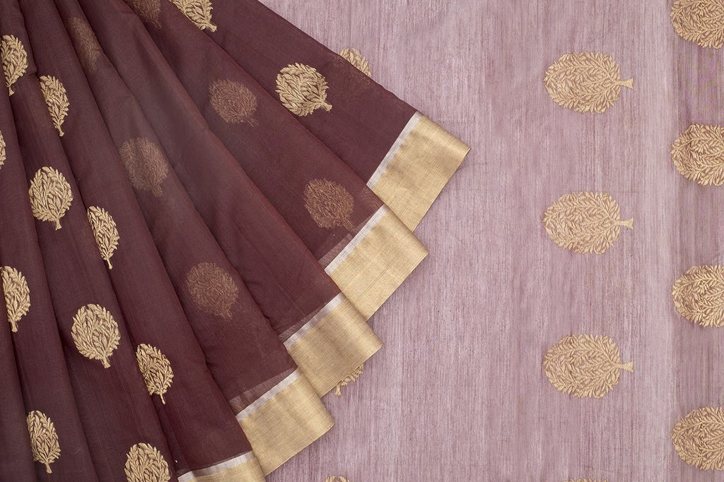 Chanderi Silk Cotton Brown Saree