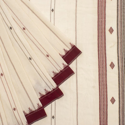 Offwhite and maroon Odisha Kotpad Cotton Saree