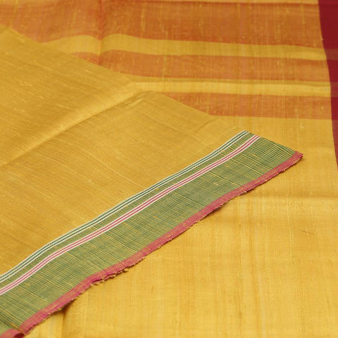 Bhagalpur Tussar Silk Mustard Yellow Saree With Plain Pattern