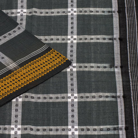Grey Black Odisha Sambalpuri Cotton Saree