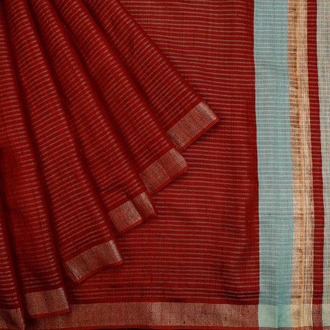 Bhagalpur Tussar Silk Maroon Saree With Light Stripes Pattern