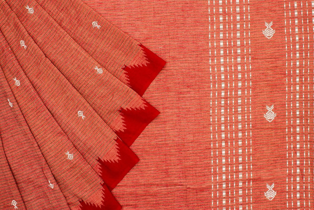 Brown And Maroon Kotpad Tussar Saree