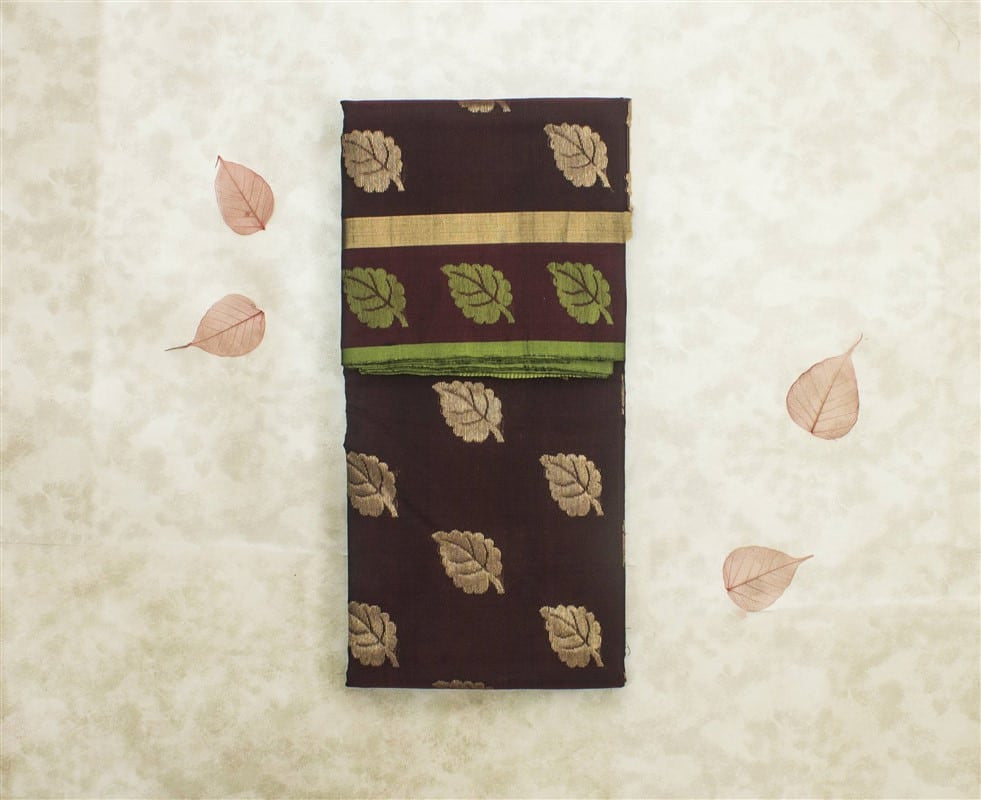 Chanderi Silk Cotton Zari Work Brown Saree With Leaf Motif