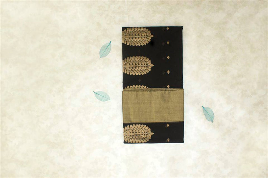 Chanderi Silk Cotton Zari Work Saree With Tree Motif - Black