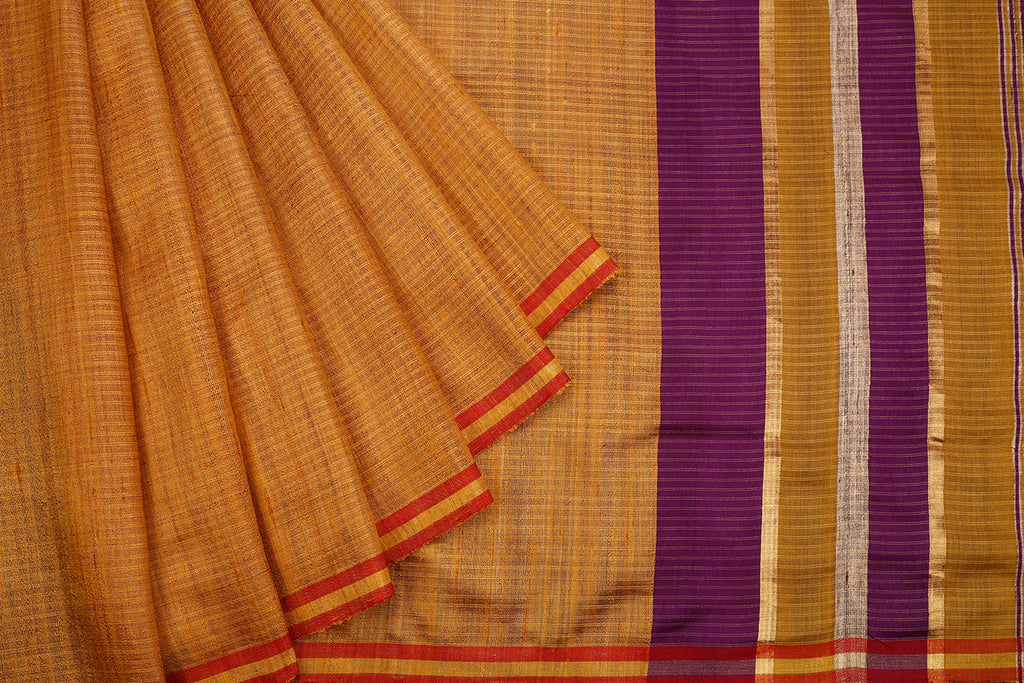 Bhagalpur Tussar Silk Beige Saree With Light Stripes Pattern