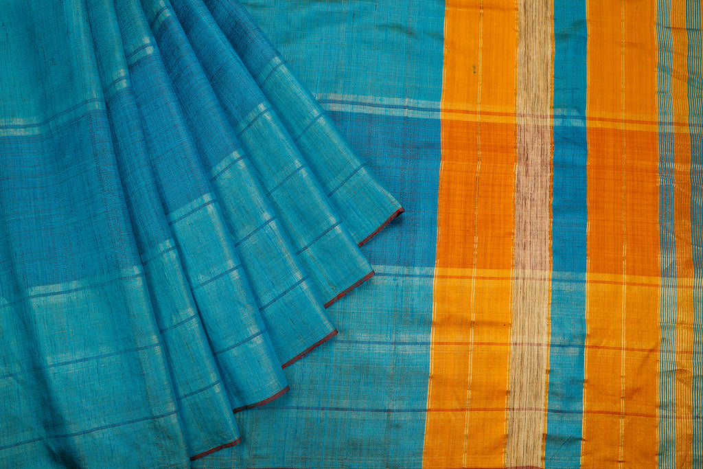Bhagalpur Tussar Silk Dark Sky Blue Saree With Color Blocking In Blue Pattern