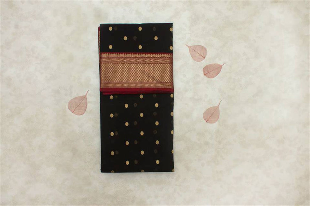 Chanderi Silk Cotton Zari Work Saree with Coin Motif - Black