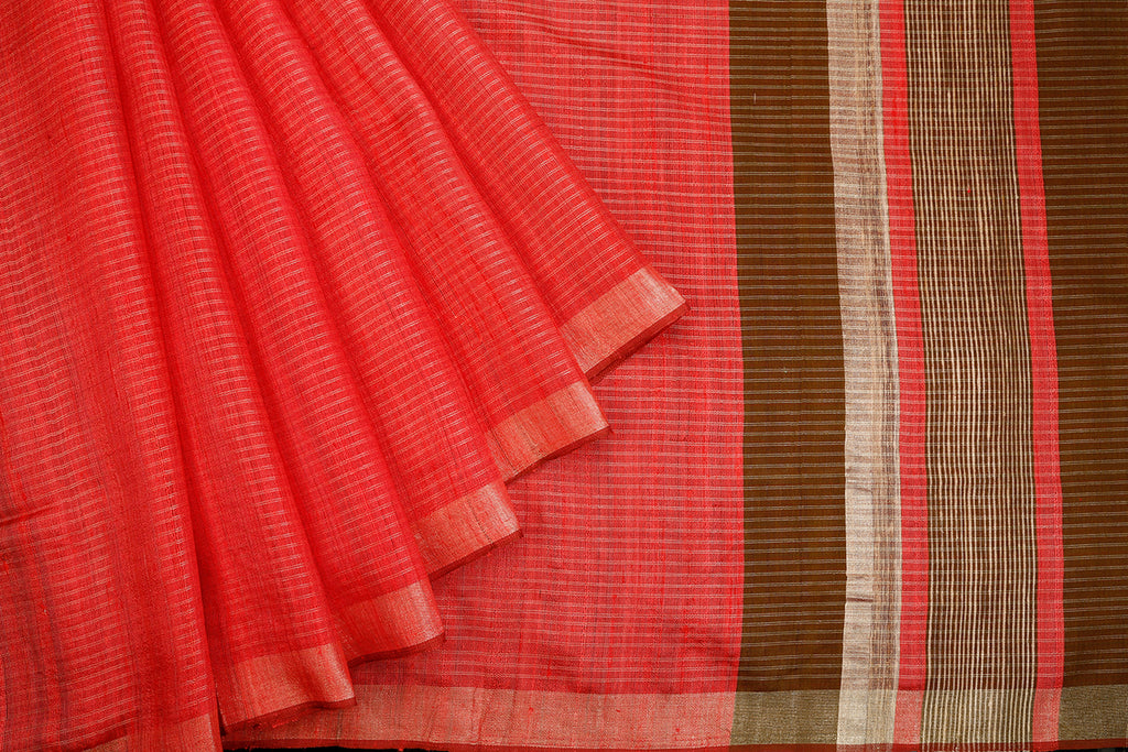 Bhagalpur Tussar Silk Pink Saree With Light Stripes Pattern