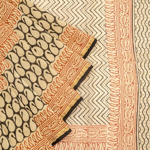 Chanderi Silk Cotton cream saree with zigzag
