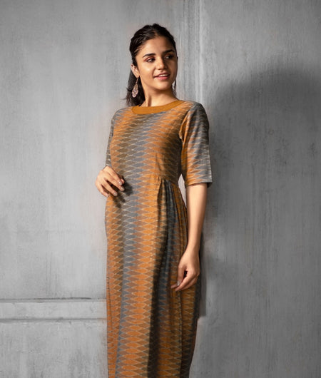 Handwoven Mustard and Brown Cotton Ikat Dress