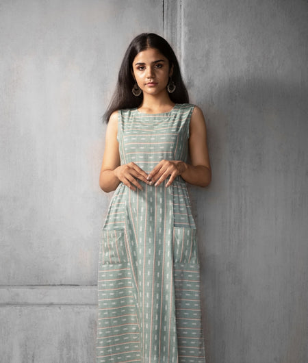 Handwoven Blue Cotton Ikat Dress