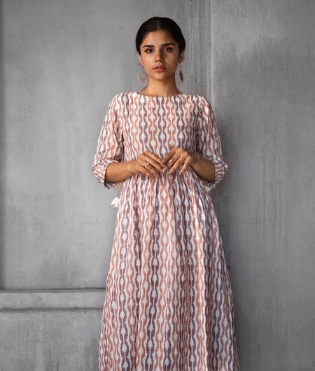 Handwoven Brown Cotton Ikat Gathered Dress