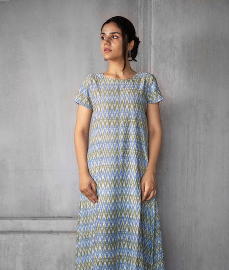 Handwoven Blue and Green Cotton Ikat Dress