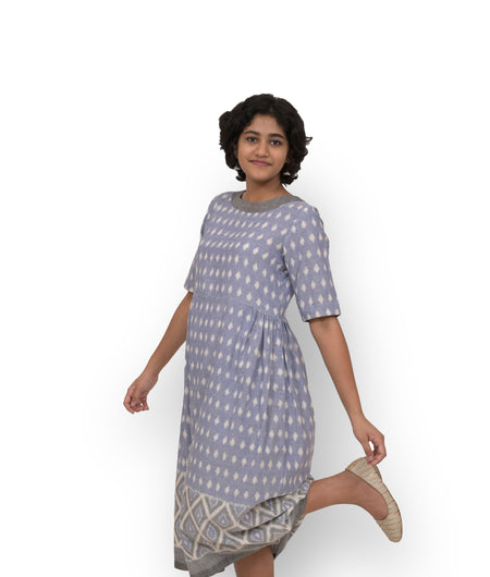 Handwoven Purple Cotton Ikat Dress
