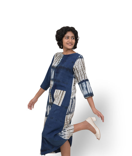 Handwoven Indigo Cotton Half and Half Shibori Dress