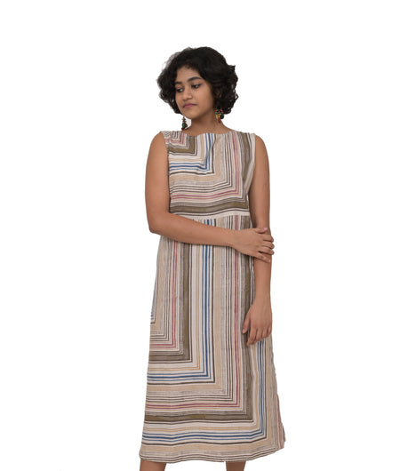 Handwoven Multicolor Cotton Stripe Dress