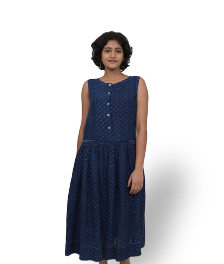 Handwoven Indigo Linen Pleated Dress