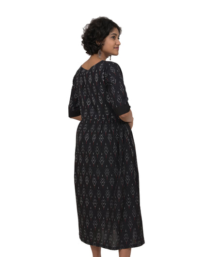 Handwoven Black Cotton Ikat Dress